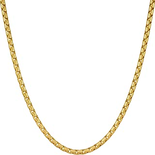 2.2mm Rounded Box Chain Necklace 24k Gold Plated for...