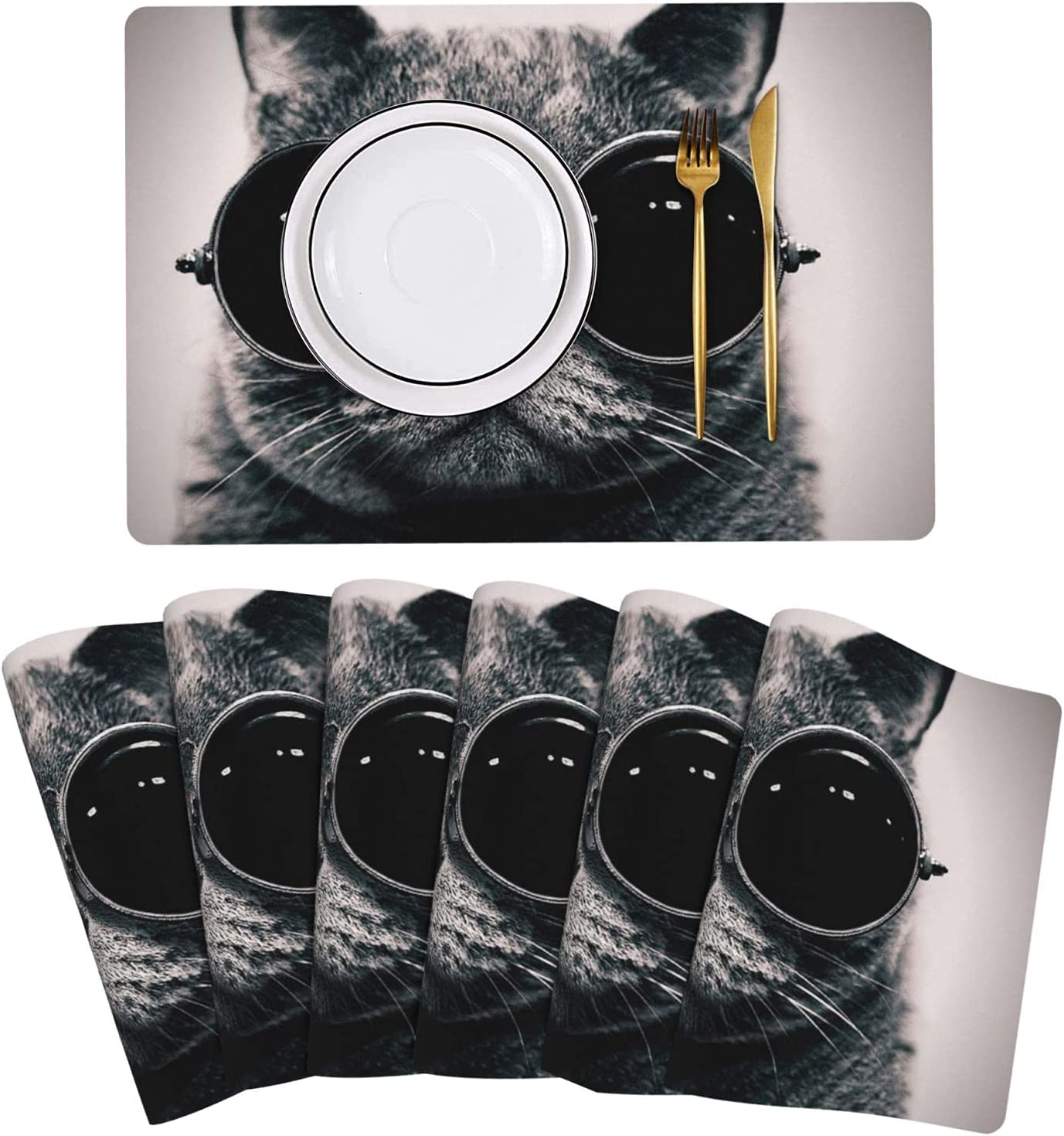 Cool New arrival cat with Glasses Mesa Mall Placemat Leather Set of Table 6 Easy Mats