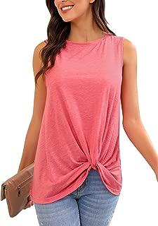 Women Casual Summer Crewneck Sleeveless Twist Knot Tank Tops Shirt