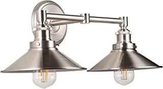 Andante LED Industrial 2 Light Wall Sconce - Brushed Nickel - Linea di Liara LL-WL427-BN