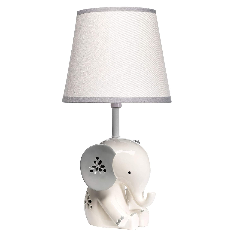 100%品質保証! Lambs Ivy 新色追加 Happy Jungle White Grey S Elephant Lamp with Nursery