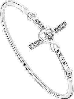WUSUANED Infinity Cross Christian Bracelet WWJD What Would Jesus Do Religious Jewelry Gift Women Girls