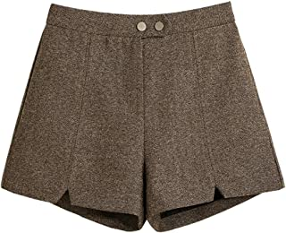 LUKEEXIN Women's High Waisted and Wide Legs Woolen Shorts