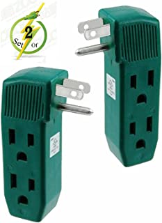 Vertical Wall Tap - 3 Outlet Adapter - UL Listed - Grounded - 2 Pack