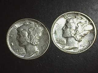 1936 1939 Mercury Dimes - Set of 2 Coins - 10c AU/BU US Mint