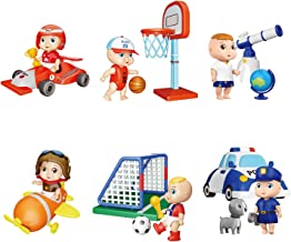 LADUO Figurine Toy Sets, 6pcs Children's Dream Career Scene Doll Toy and Accessories..
