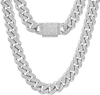 KRKC&CO 12mm Mens Iced Cuban Link Chain, 18k Gold Cuban Necklace, Cuban Choker, Hip Hop Jewelry, Prong-Setting 5A CZ Stone...