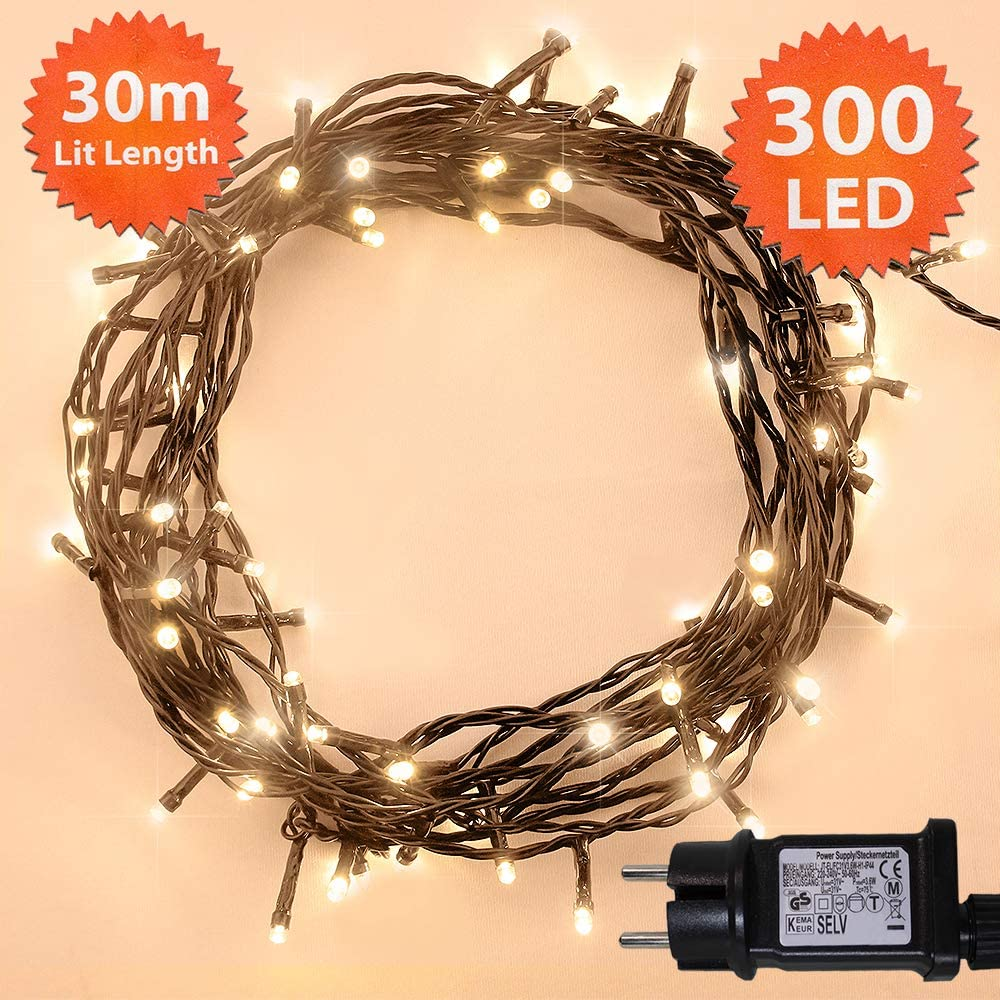 Lichterkette 100 LED 10m//32ft Weihnachtsbaum Lichtkette Innen Au/ßen F/ür Weihnachten//weihnachtsbeleuchtung//Hochzeiten//Party//Weihnachtsdekoration Warmwei/ß Gr/ünes kabel