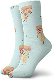 tyui7, Patrón de pizza de dibujos animados calcetines de compresión antideslizantes calcetines deportivos acogedores de 30 cm para hombres, mujeres, niños