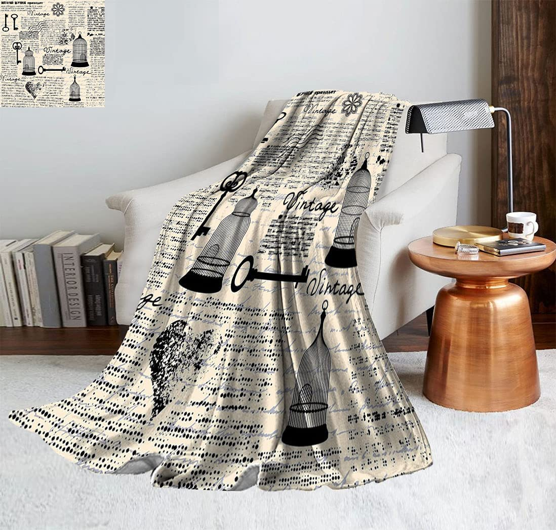Old Newspaper Decor Blanket Rapid rise Blanket-Sofa wi Pattern Grunge Bed Seattle Mall