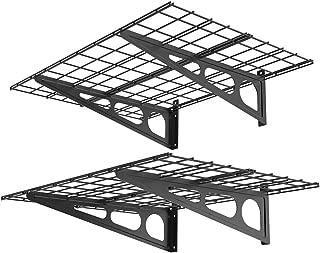 FLEXIMOUNTS 2' x 4' Black 2-Pack 2x4ft 24-inch-by-48-inch Wall Shelf Garage Storage Rack, 24