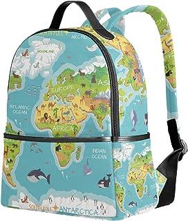 Mochila de viaje con diseño de mapa del mundo, diseño de flora del océano