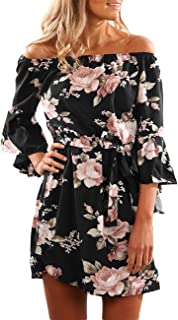 Sexyshine Women's Sexy Off Shoulder Strapless Floral Print Ruffles Flare Sleeve Casual Tunic Mini Dress