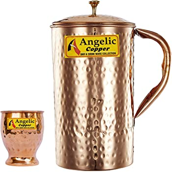 Angelic Copper Hammered Water Jug with Glass, Brown