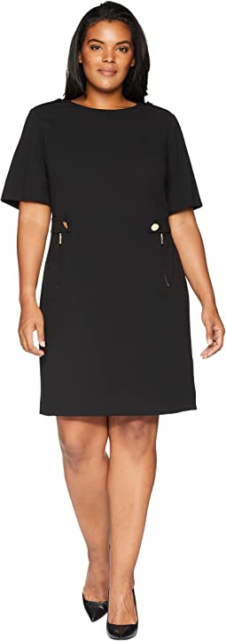 Plus Size Printed Dress w/ Zips & Hardware