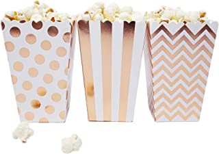 Mini Popcorn & Candy Favor Treat Boxes for Birthday, Bridal and Baby Shower - Polka Dot, Chevron, Striped Assorted Designs - 36 Count (Rose Gold Mix)