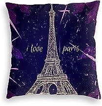 C-WANG Vintage Poster I Love Paris Funda de Almohada Decorativa Decoración para el hogar Funda de Almohada Regalos Colorido