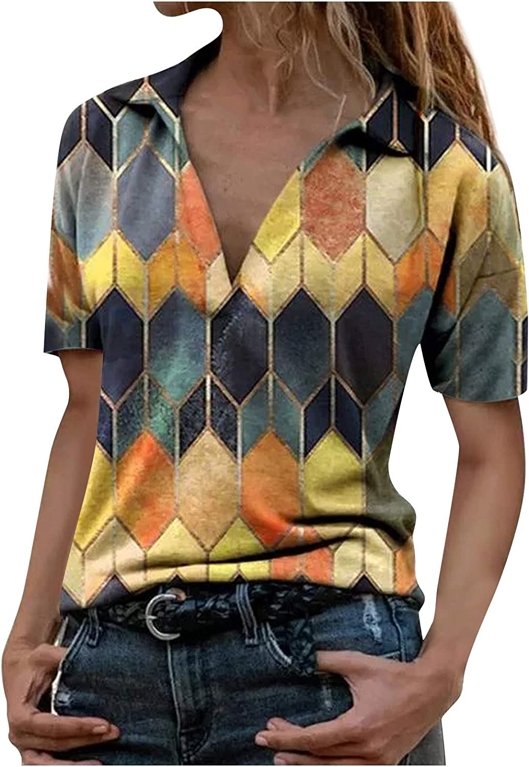 Hotkey Women's Short Sleeve Tops Lapel for Recommendation Wome Neck Miami Mall V T-Shirts