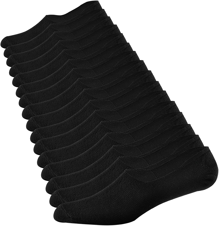 Jormatt 8 Pairs Mens No Show Socks Comfort Cotton Invisible Low Cut Socks Non-Slip 6-10/10-13