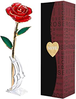 Suturun Gold Dipped Rose,24K Gold Rose with Transparent Stand,Real Long Stem Eternity Rose Flower Best for Her,Mom,Wife,Gi...