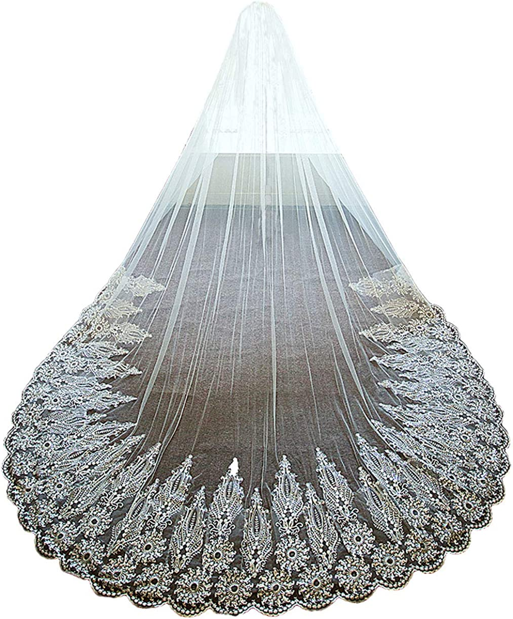 Lace White Ivory Cathedral Wedding Veil for Brides with Sequins Metal Comb