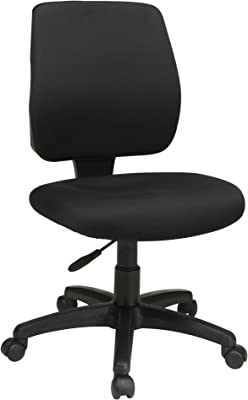 Office Star Deluxe Padded Seat and Back Task Chair with Ratchet Back Height Adjustment without Arms, Black