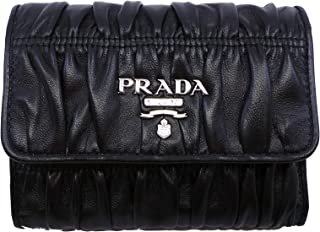 Women's Black Nero Portfoglio Pattina Nappa Gaufre' Leather Wallet 1MH840