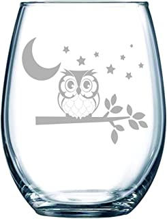 C M Owl with moon and stars stemless wine glass