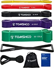 TOMSHOO 5 Packs Pull Up assist Bands Set Resistance Loop Bands Powerlifting Exercise Stretch Bands with Door anchor and Handles
