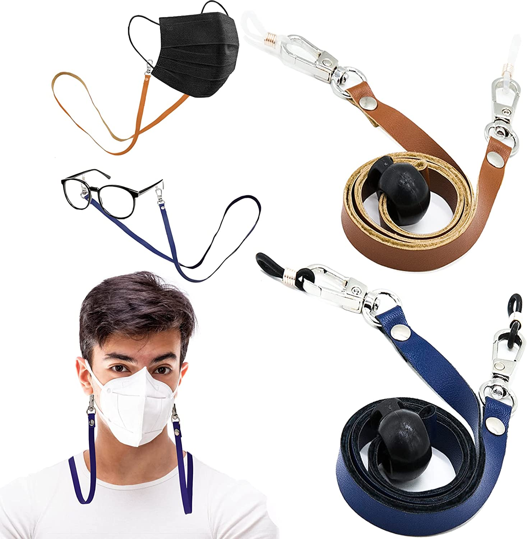 2 PCS Mask Chains  Eyeglass Chain Holders, Premium Leather Mask