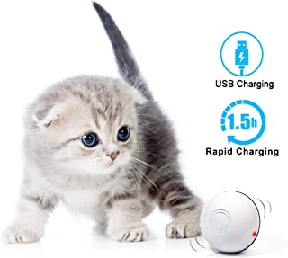 MHMYDIS Smart Interactive Cat Toy - USB Rechargeable 360 Degree Self Rotating Ball Build-in Spinning Led Light, Automatic Rolling Pet Toy Stimulate Hunting Instinct for Your Kitty and Dogs