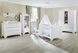 aus MDF 140 X 70 cm Extrabreite Wickelkommode mit Wickelaufsatz und Gro/ßer Kleiderschrank Kinderbett Pinolino 100063Xg 3-Teilig eiche grau