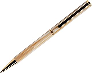 BLUSaigon Mother of Pearl Pen Set - Hermes Collection - Includes Men's Cufflinks, Ink Pens, Notebook & Manual-Drawing, Journal-Writing - Multi-Color, Handcrafted, Vintage Ballpoint Pen (Peach)