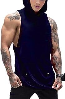 قمصان بدون أكمام للرجال من Daupanzees مزودة بقلنسوة للتمارين الرياضية مع جيب Kanga Cool and Muscle Cut
