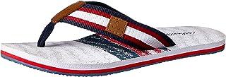 Atlantis Shoes Men's Navigation Plaid Nautical Thong Sandals, White
