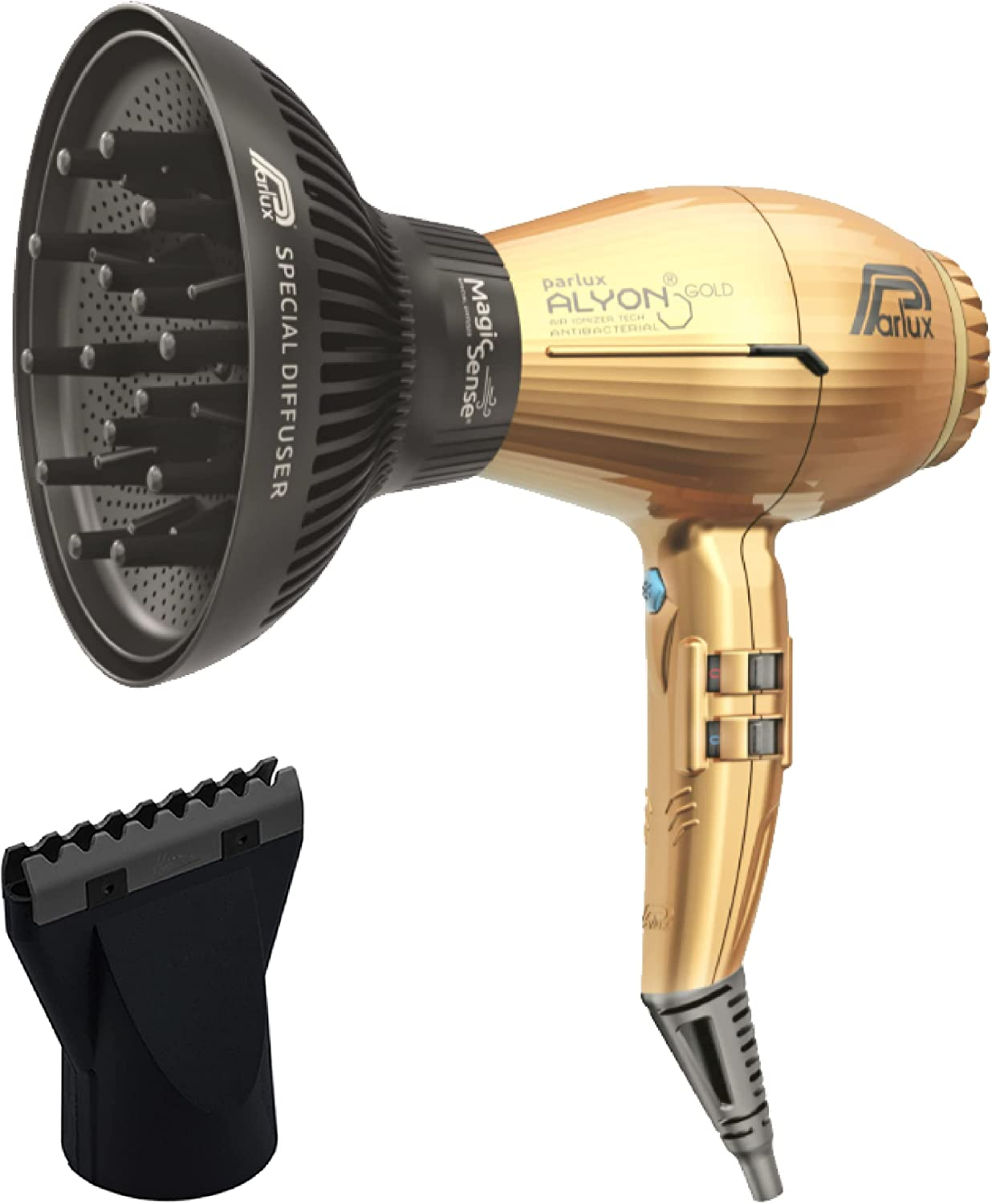 Parlux Alyon Gold Professional Hair Dryer with Magic Sense Special Diffuser and M Hair Designs Hot Blow Attachment