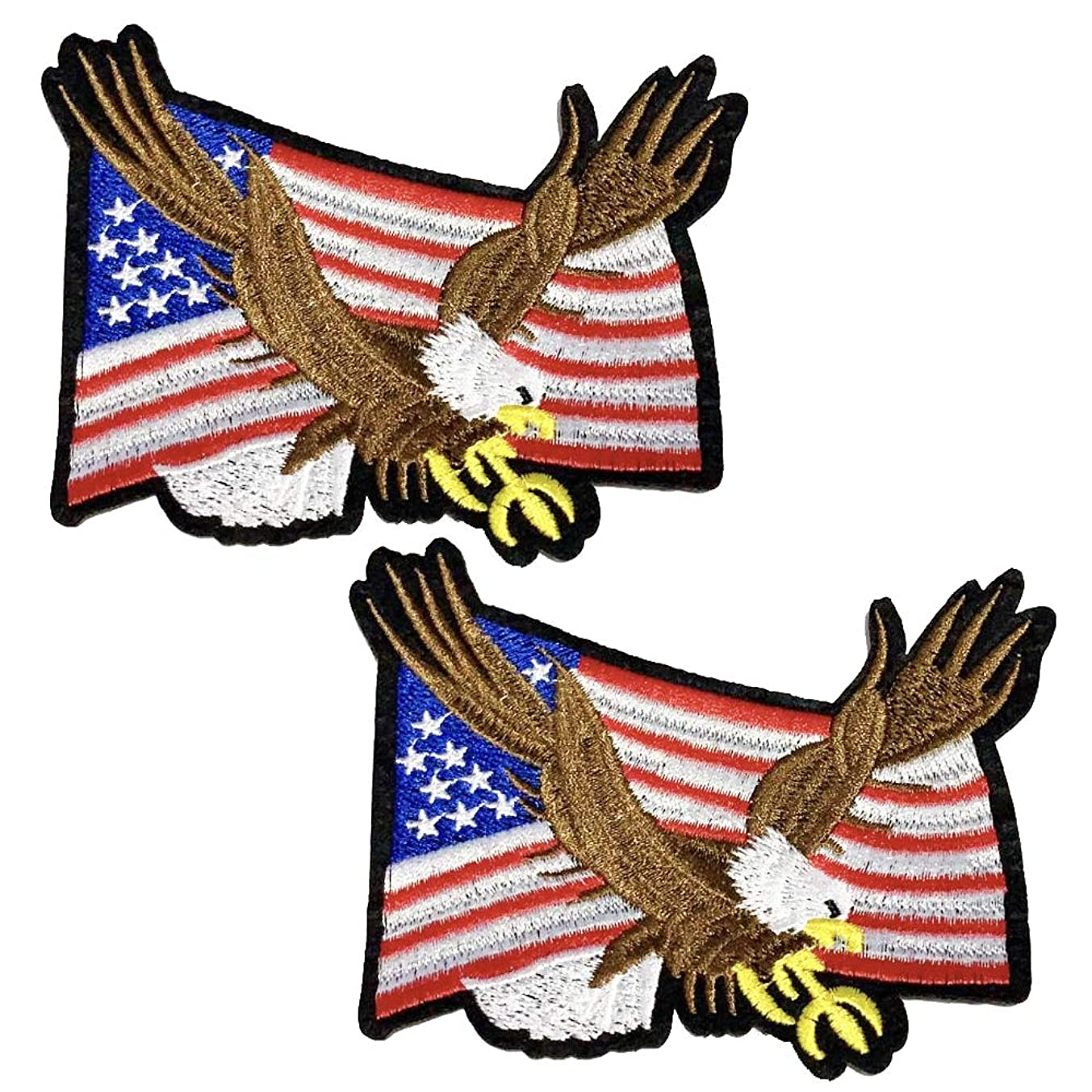 2 Pcs Delicate Embroidered Patches,Iron On Patches, Sew On Applique Patch,American Eagle Embroidery Patches, Cool Patches for Men, Women, Boys, Girls, Kids
