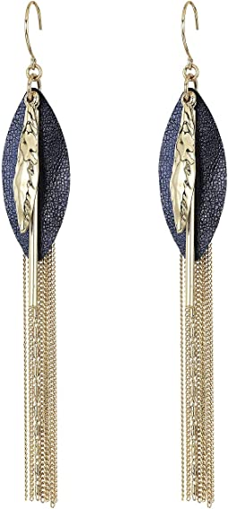 Leather Fringe Drop Earrings