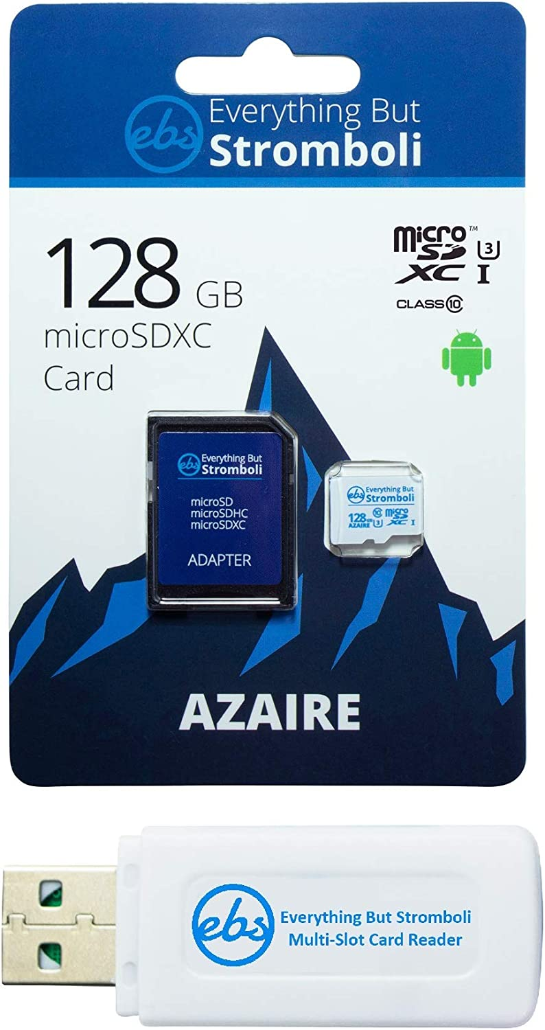 Everything But Stromboli 128GB Azaire MicroSD Memory Card Bundle Works with Samsung Galaxy Phones S Series S10, S10+, S10e, S9, S9, S8, S7 Speed Class 10, U3, UHS-1 SDXC Plus 1 Micro & SD Card Reader