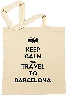 Keep Calm And Travel To Barcelona Bolsa De Compras Playa De Algodón Reutilizable Shopping Bag Beach Reusable