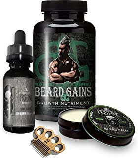 Beard Gains Growth Vitamin Pills Bundle Kit - Growing a Faster Thicker Better Beard, Fill in Patchy Hairs - Biotin Supplement, Oil, Balm Butter and Wooden Micro Beard Mustache Comb (Growth Kits, 60ct)