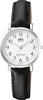 Q&Q Women's White Dial Leather Band Watch - Q979J304Y