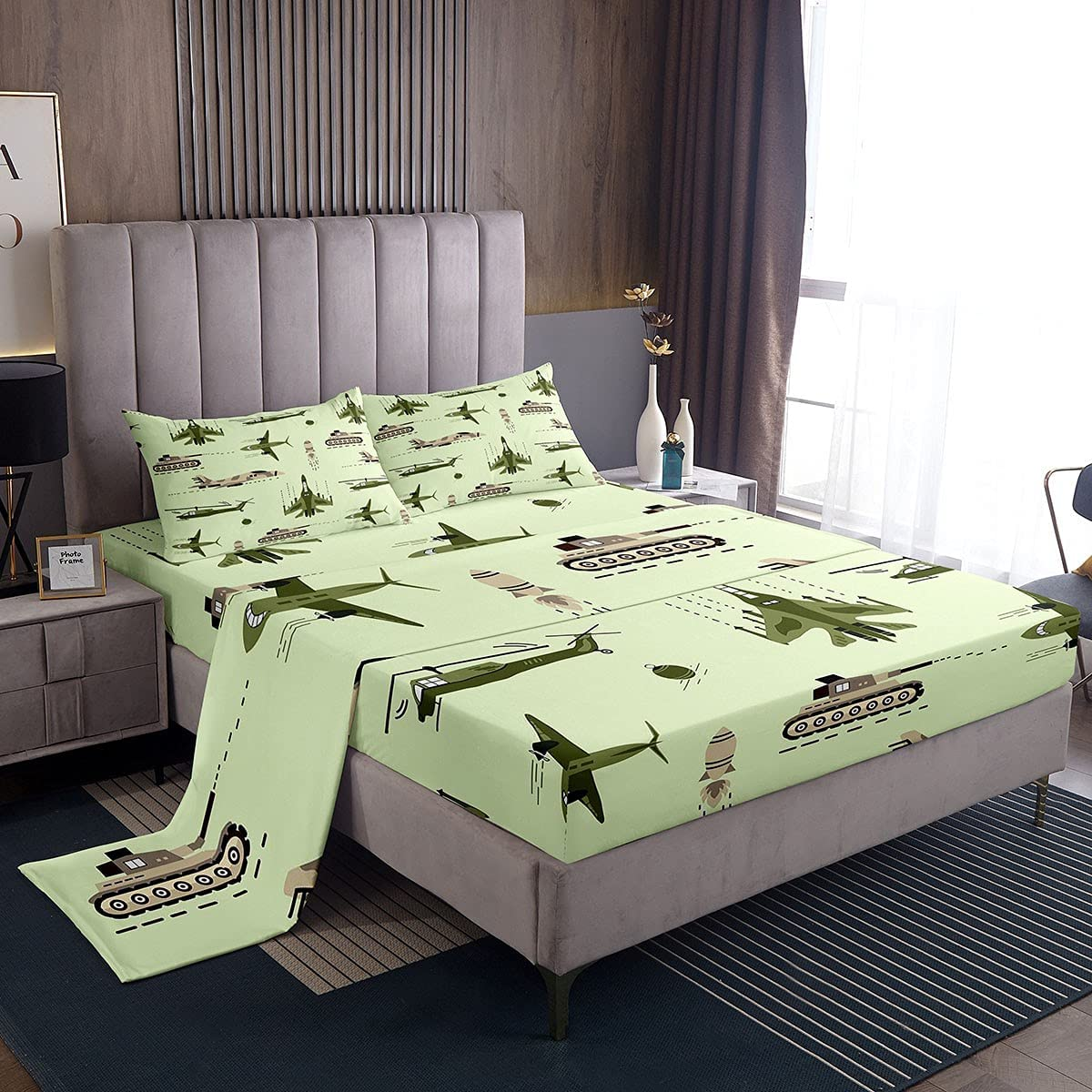 Feelyou 3D Army Helicopter free shipping Bed Airplane Set for Sheets Luxury Tank