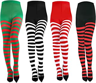 Alpurple 4 Pairs Christmas Full Footed Striped Socks-Women Striped Footed Tights, Full Length Tights Striped Stockings for...