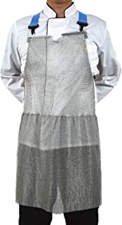 Cut-Resistant Heavy Duty Chainmail Apron for Butcher, Anti-cutting Protective Apron for Knife Meat Work, Durable Stainless Steel 316 Mesh Metal Safety Bib Adjustable Strap