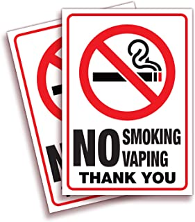 No Smoking No Vaping Sticker Sign – 2 Pack 7x10 Inch – Premium Self-Adhesive Vinyl, Laminated for Ultimate UV, Weather, Sc...