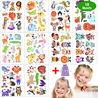 Tatuering barn, djur glitter tillfälliga tatueringar set vattentät lim barntatueringar klistermärken schabloner för flicko...