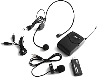 Belt Pack Wireless Microphone System - Mic Set with USB Receiver, Transmitter, Headset and Clip Lavalier Lapel Mic, Audio Cable, Two 'AA' Battery - Great for Karaoke, PA, Dj Party - Pyle Pro