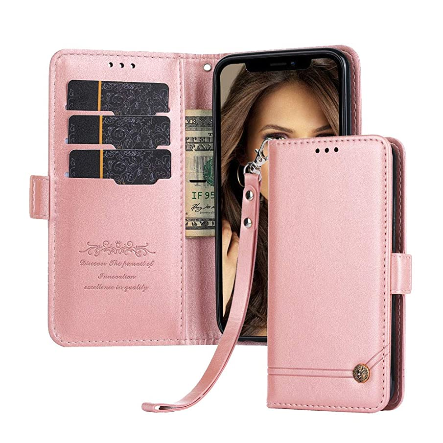 for Moto X4 Case, Suordii Retro Premium Leather with Credit Card Slot Holder Flip Cover Stand Magnetic Closure Wallet Case for Moto X4 5.2''-Rose Gold