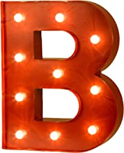 Glitzhome Vintage Marquee LED Lighted Letter B Sign Battery Operated Red
